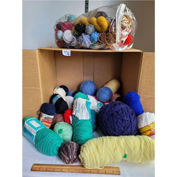 Box of assorted yarn