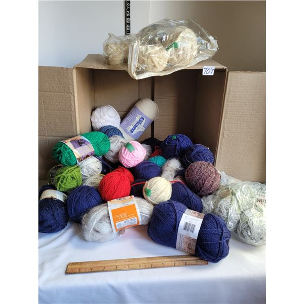 Box of various balls of yarn.