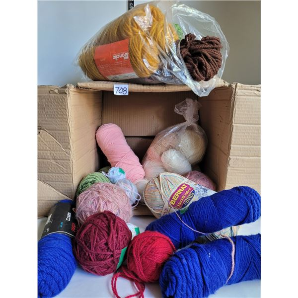 Box of assorted colored yarn.