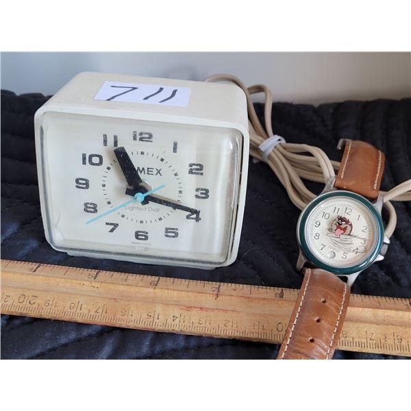 Vintage Timex clock. (working) Tasmanian Devil watch on a leather strap.