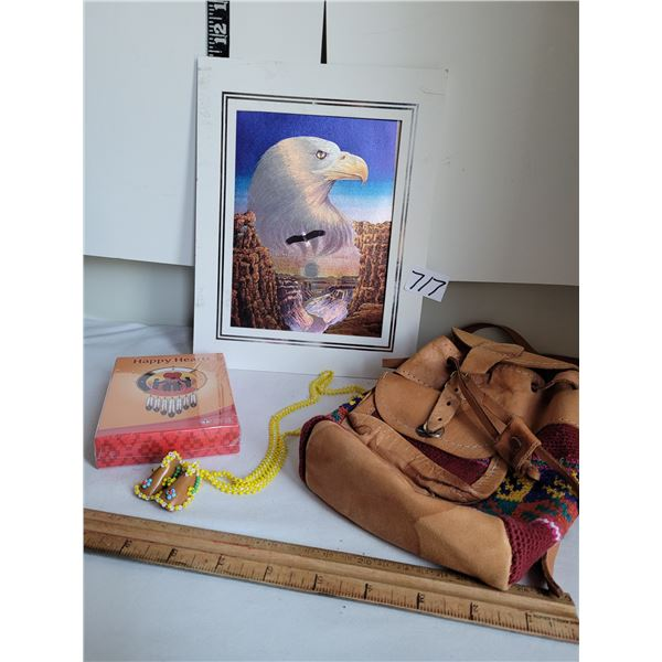 Native foil eagle,Happy Hearts card game, small leather backpack & beaded moccasin neck ware.