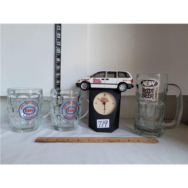 Local advertising. Grey cab van clock(moving parts) Esso, A&W mugs