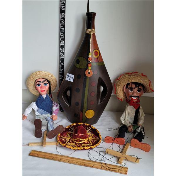 Mexican vase, sombrero & marionettes.