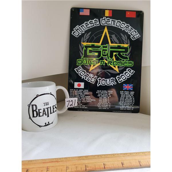 8X10 tin poster, Guns & Roses 2002 World tour. Beatles coffee mug.