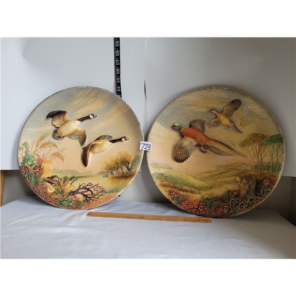 Vintage 1958 chalk ware wall plates, hand painted by W.H. Bossons (England)