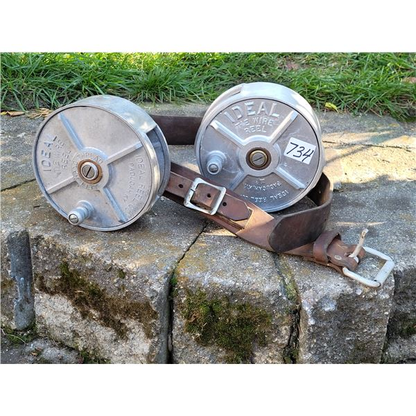 2 Ideal tie wire reels on heavy leather belt.
