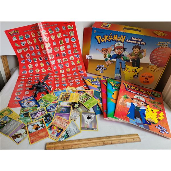 1999 Pokemon slightly used activity & sticker books. Unchecked cards & action figure.