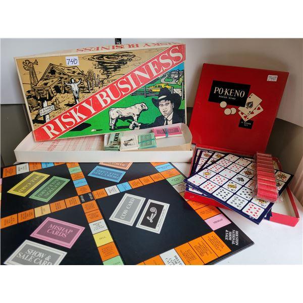 Rare Vintage Risky Business board game + Po-ke-no game.