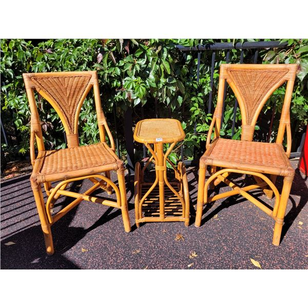 Beautiful Rattan furniture, excellent condition. 2 chairs & side table.