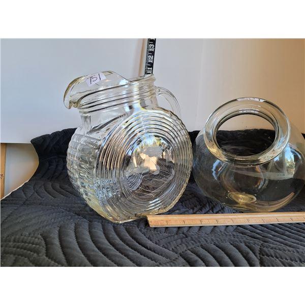 Vintage glass pitcher, etched sides,crack under handle. Old candy bowl.
