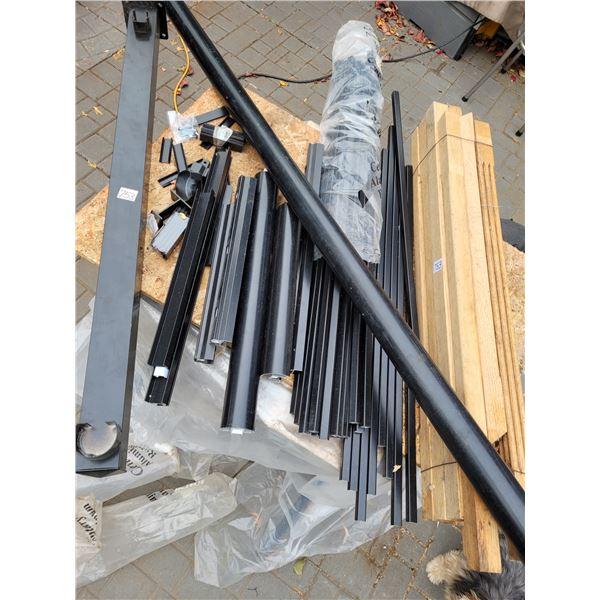 Wood spindles. Metal deck post, rail and spindles.