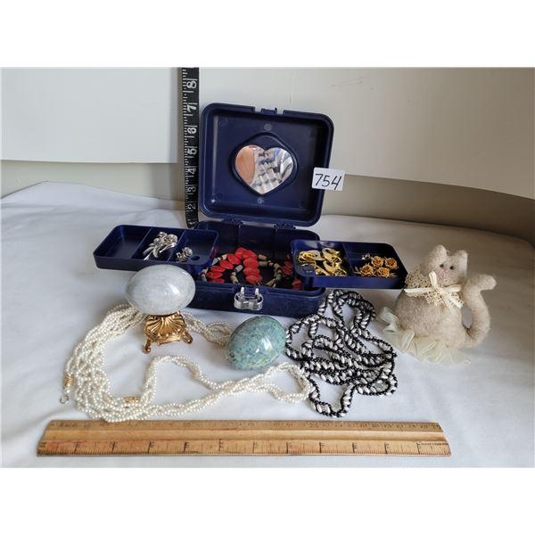 """Vintage costume jewelry in box. """"Coro"""" rose set. 2 heavy stone eggs"""
