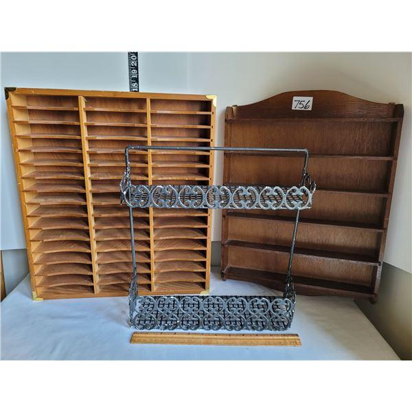 Shelves. 2 Wood.1 size changeable slots.Coated metal wall rack.
