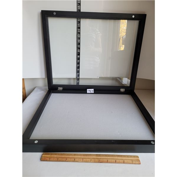 Heavy glass top safety display cabinet with magnetic close.