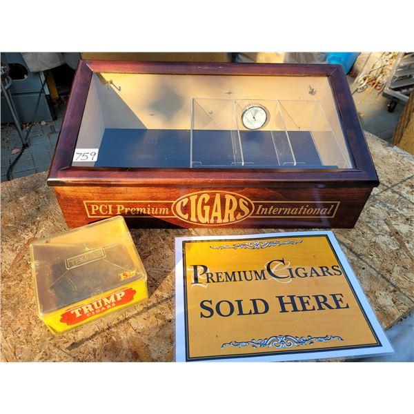 Wood & glass cigar humidor/ display cabinet. Sign & Trump cigar case