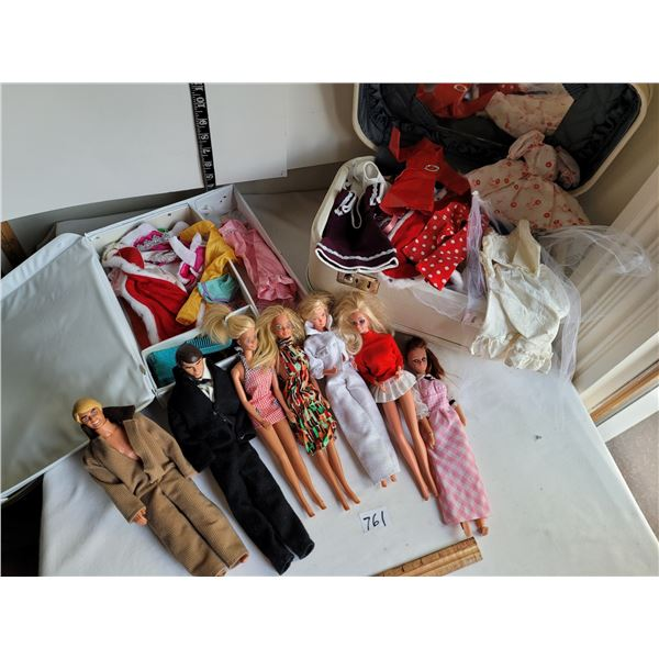Lot of Barbie dolls, case, tote of clothes and accessories.
