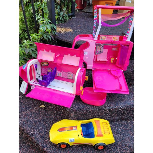 Lot of Barbie vehicles. Car camper & plane. Incomplete.