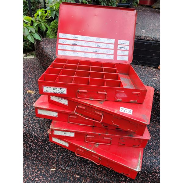 5 metal screw and parts storage boxes with handles