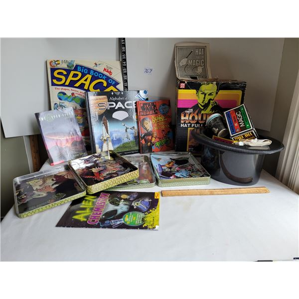 Houdini magic kit, space books. Magnetic monster kits & book.
