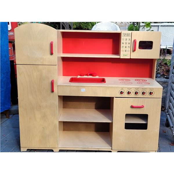 """Lakeshore Wood Play Kitchen. 4 magnetic doors, sink, oven. 44""""H X50""""W X 15""""D"""