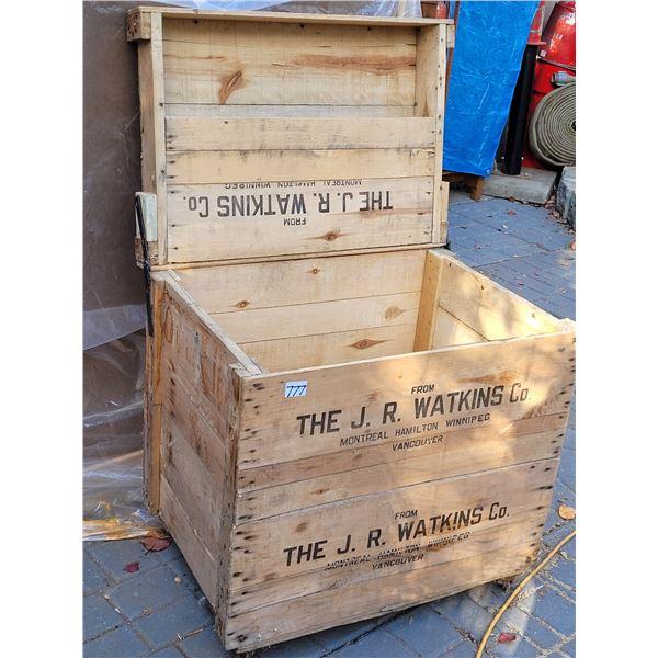 "Primitive handmade Watkins storage box. Metal wheels, JR  Watkins Co. 25 3/4""H X 25 1/2""W X 18""D"
