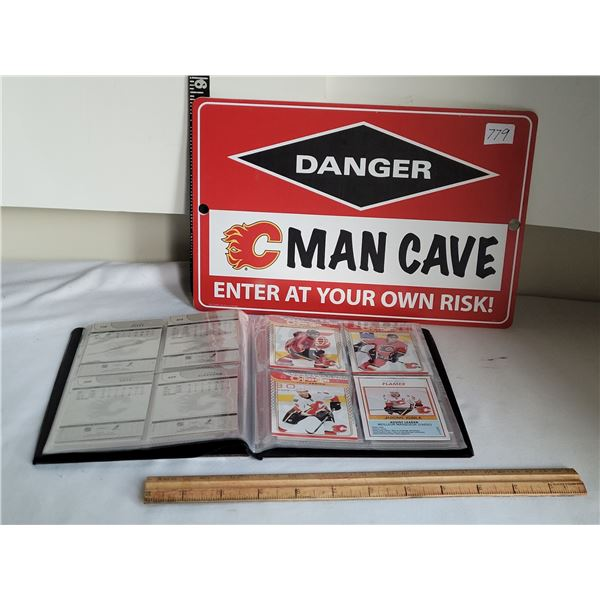 Calgary Flames man cave sign & book of collector Flames cards.