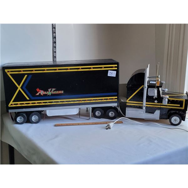 """Handmade Semi truck. Light in cab & trailer. Front on/off switch. 33"""" total length, 11"""" high"""