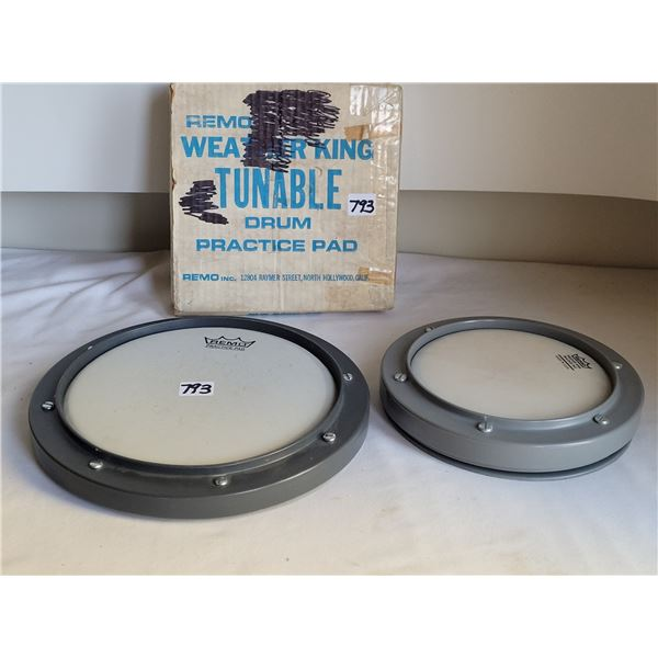2 Remo practise drum pads.