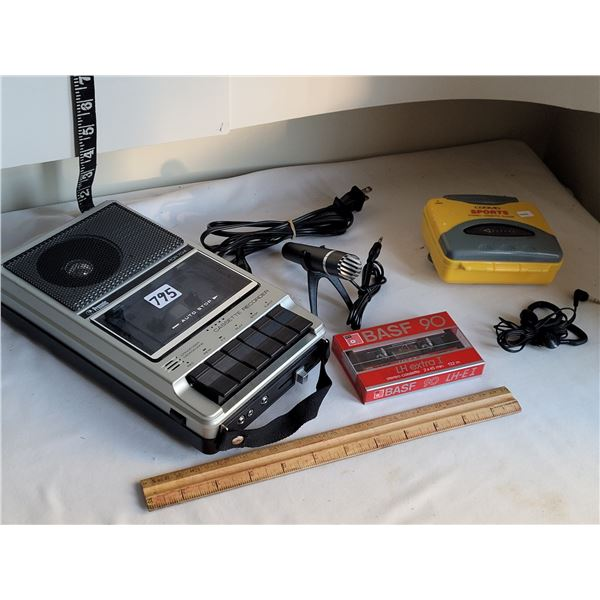 Vintage Prosonic cassette tape recorder, microphone & unopened recordable tape. Cosmo cassette playe
