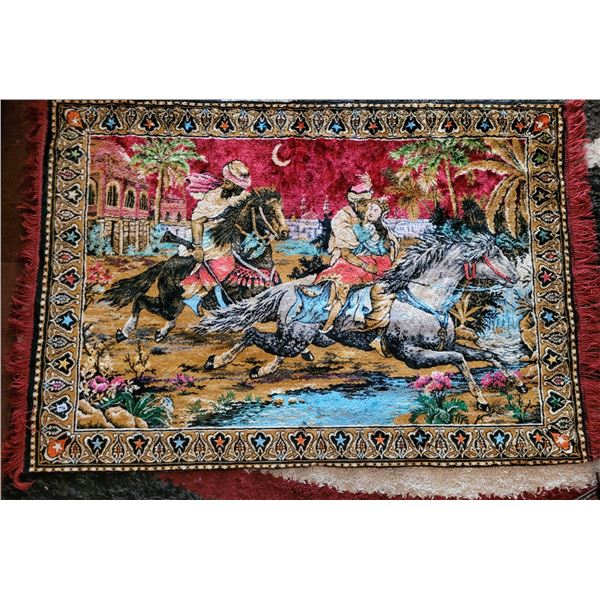 """Vintage velvety soft wall tapestry, arabian knights.. Maroon fringe on sides. Approx. 46"""" long X 67"""""""
