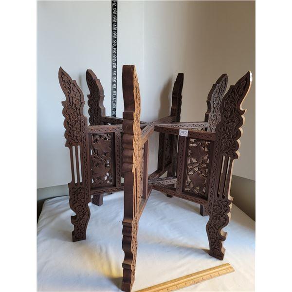 Vintage, rare & unique. India made coffee/tea foldable table base. Ornate carved wood, 6 legs, folds