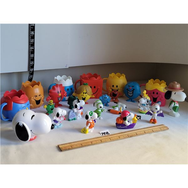 Group of  collectable Mr. Men & Little Miss, Snoopy collectables from Whitmann's.