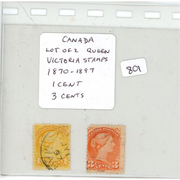 Lot of 2 Canadian Queen Victoria stamps 1870 – 1897. Includes 1 cent and 3 cents. Used.