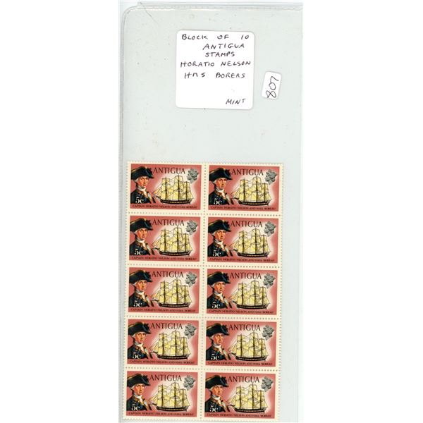 Block of 10 Antigua Stamps depicting Captain Horatio Nelson and his ship HMS Boreas. Mint.