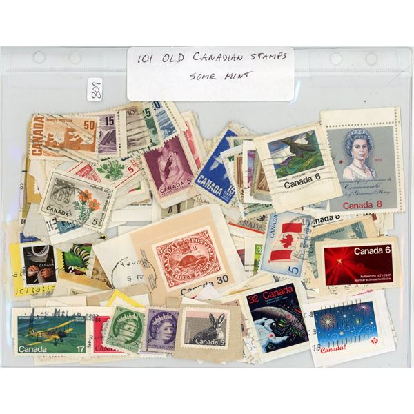Lot of 101 Old Canadian Stamps, some mint.