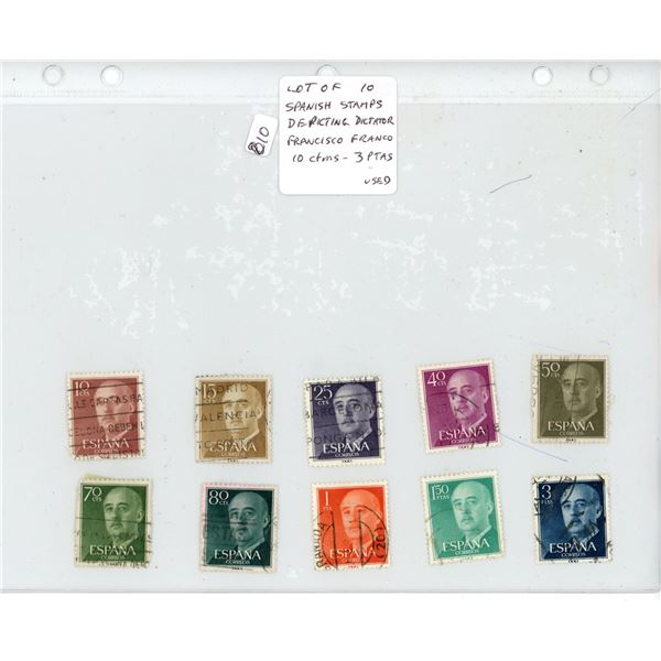 Lot of 10 Spanish Stamps depicting Dictator Francisco Franco. Denominations from 10 cents to 3 Peset