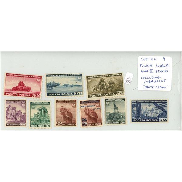 "Lot of 9 Polish World War II Stamps including Overprint ""Monte Casino."" Mint."