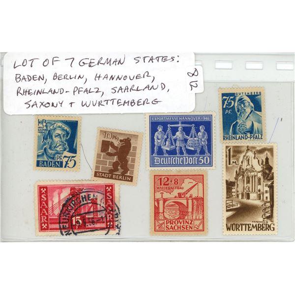 Lot of 7 German States Stamps. Includes Baden, Berlin, Hannover, Rheinland-Pfalz, Saarland, Saxony a