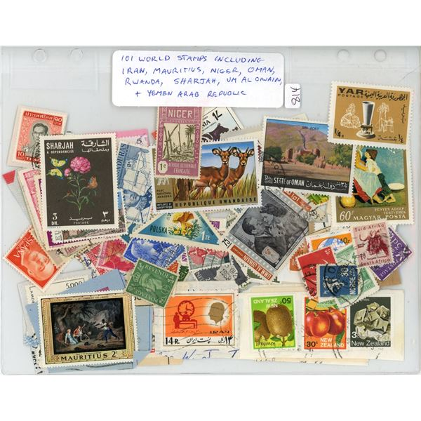 Lot of 101 World Stamps including Iran, Mauritius, Niger, Oman, Rwanda, Sharjah, Um Al Oiwain, and Y