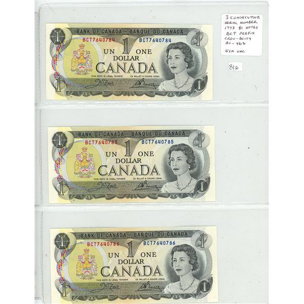 Lot of 3 Consecutive Serial Number 1973 $1 notes. Crow-Bouey signatures. BCT Prefix. BC-46b. Gem Unc