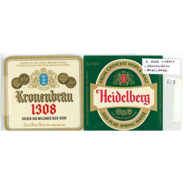 Lot of 2 Carling O'Keefe Beer Labels. Kronenbrau and Heidelberg. New.