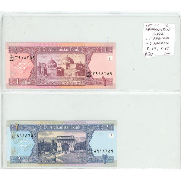 Lot of 2 Afghanistan 2002 notes. 1 Afghani & 2 Afghani. Da Afghanistan Bank. P-64, P-65. Unc.