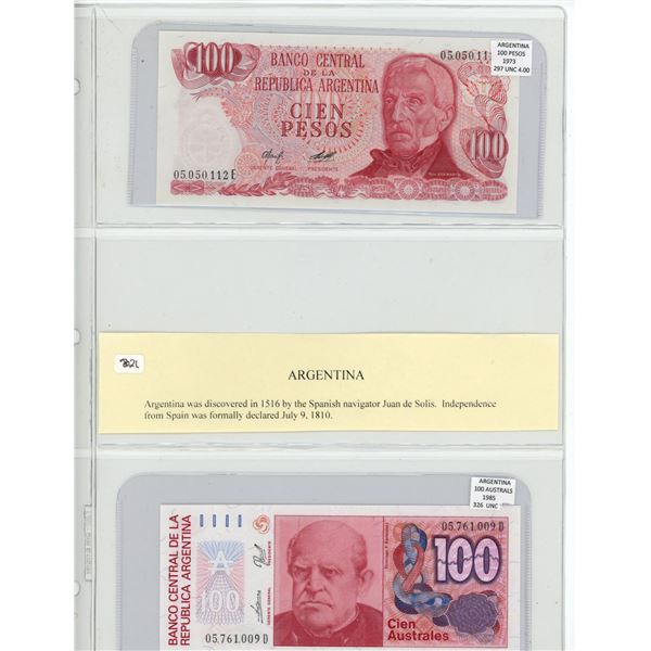 Lot of 2 Argentina notes. 1973 100 Pesos and 1985 100 Australes. P-297 & P-326. Both Unc.