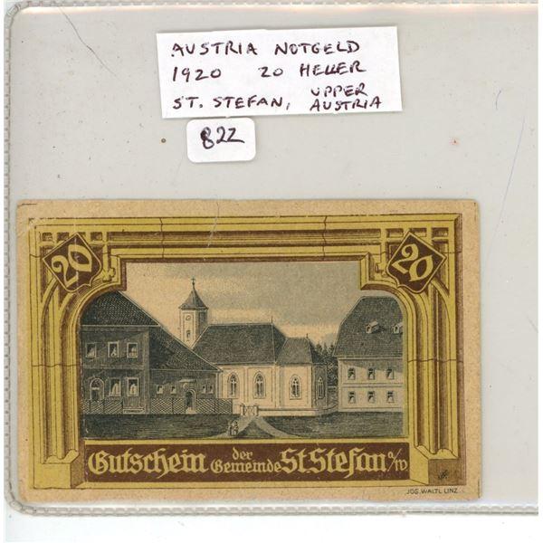 Austria Notgeld (Necessity Money). 1920 20 Heller. St. Stefan, Upper Austria. F.