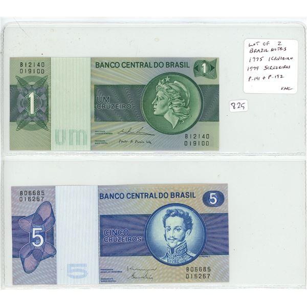 Lot of 2 Brazil notes. Central Bank of Brazil. 1975 1 Cruzeiro, 1979 5 Cruzeiros. P-191, P-192. Unc.