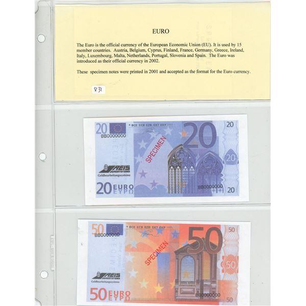 Lot of 5 one-sided Specimen Euro notes: 20 Euro, 50 Euro, 100 Euro. 200 Euro and 500 Euro.