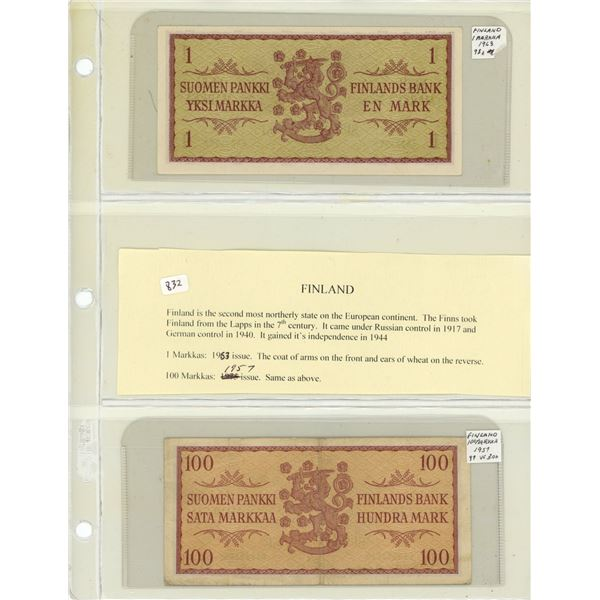 Lot of 2 Finland notes. 1963 1 Markka Unc & 1957 100 Markaa VF. P-98a & P-97.