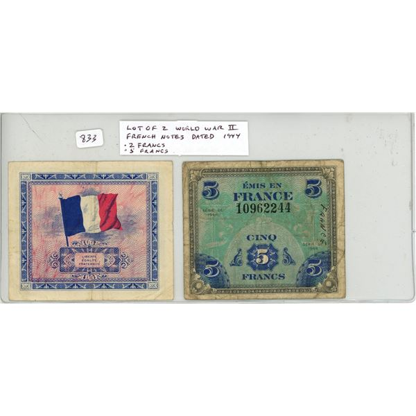 Lot of 2 World War II French notes dated 1944. 2 Francs, 5 Francs. Used in Liberated France.