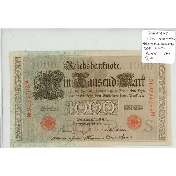 Germany. Empire. 1910 1000 Mark Reichsbanknote. Red Seal. P-44. VF+.