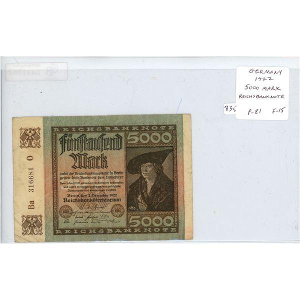 Germany. Weimar Republic. 1922 5000 Mark Reichsbanknote. P-81. F-15.